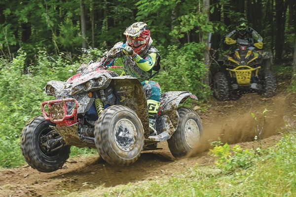 Cunningham Racing/Can-Am X-Team racer Kevin Cunningham edged fellow Can-Am Renegade X xc 1000R ATV pilot Bryan Buckhannon for the 4X4 Pro class victory at round eight of the GNCC series held in Odessa, N.Y.