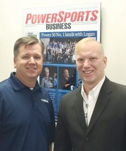 PSB editor in chief Dave McMahon, left, welcomed Mark Moon, new director of powersports at Dowco Power Sports, to the PSB offices in August.