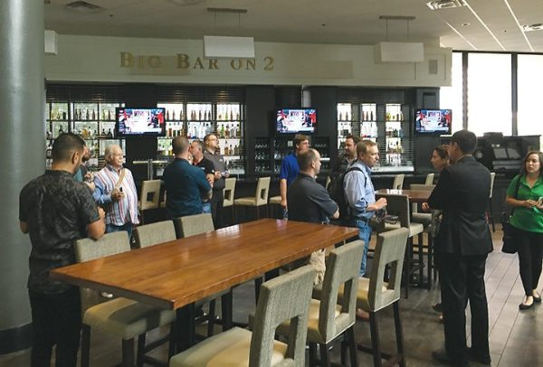 Past AIMExpo exhibitors are led on a personal tour of the city, including the Big Bar on 2 at the Hyatt Regency Columbus, which adjoins the convention center.