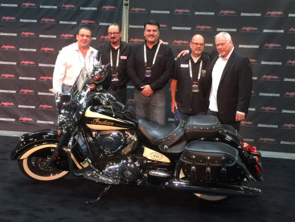 From left to right: Vincent Amato (winning bidder), Brian Klock (Klock Werks), Steve Menneto (Indian Motorcycle), Dave Stang (Jack Daniel's) and Craig Jackson (Chairman/CEO of Barrett-Jackson Auction Company).