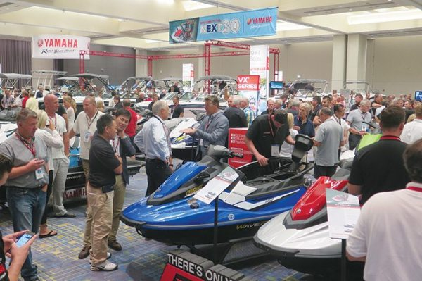 Dealers flocked to the showroom at McCormick Place to check out the 2017 Yamaha WaveRunner lineup.