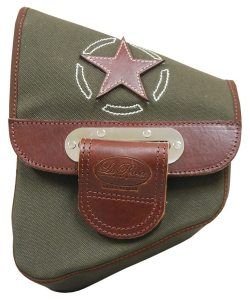 The Army Green with Brown Leather Star Canvas Softail Saddle Bag by La Rosa Design retails for $124.99.