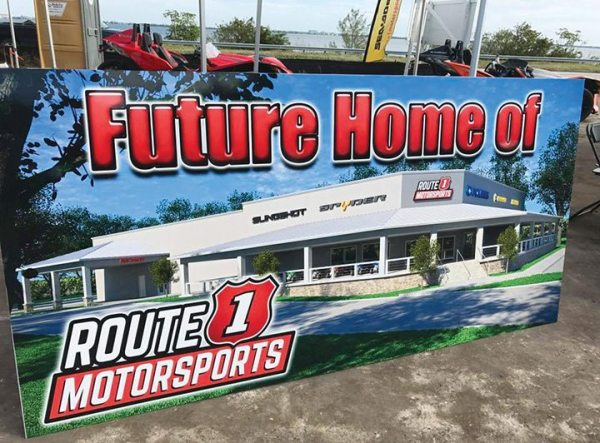 A rendering shows what the new 26,000-square-foot Route 1 Motorsports building will look like when it's complete next year.