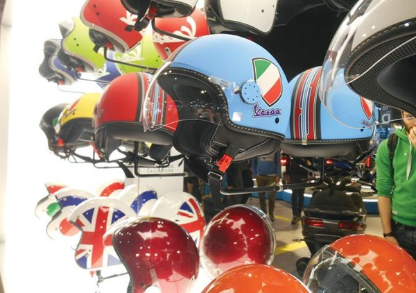 Somehow, at EICMA, even a standard presentation of helmets looks cool.
