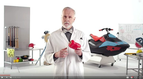 "Sea-Doo partnered with creative agency Cramer-Krasselt to produce four humorous videos in a ""Highly Scientific Test"" series."