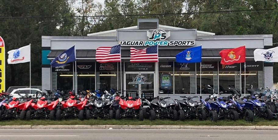 A 2017 Picture From The Jaguar Powersportsu0027 Facebook Page Shows Military  Flags Proudly Displayed Alongside American Flags Outside The Dealership.