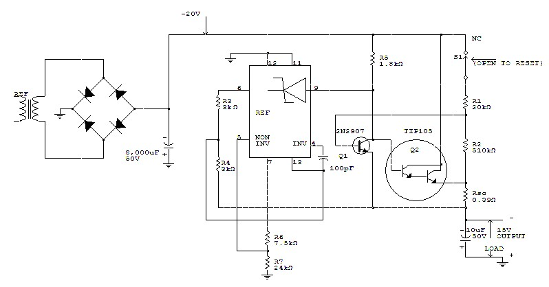-15 V 1 A Regulated Power Supply