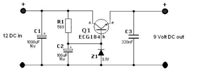 Simple 12 Volt to 9 Volt DC-DC Converter - Power Supply Circuits