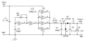 5 V to 30 V converter scheme