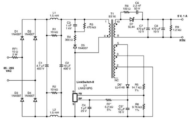 5 Volt Charger Based Lnk616pg Chip Power Supply Circuits