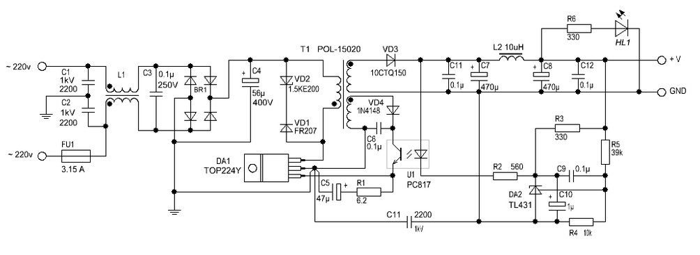 Circuit Of Switching Power Supply Basiccircuit Circuit Diagram