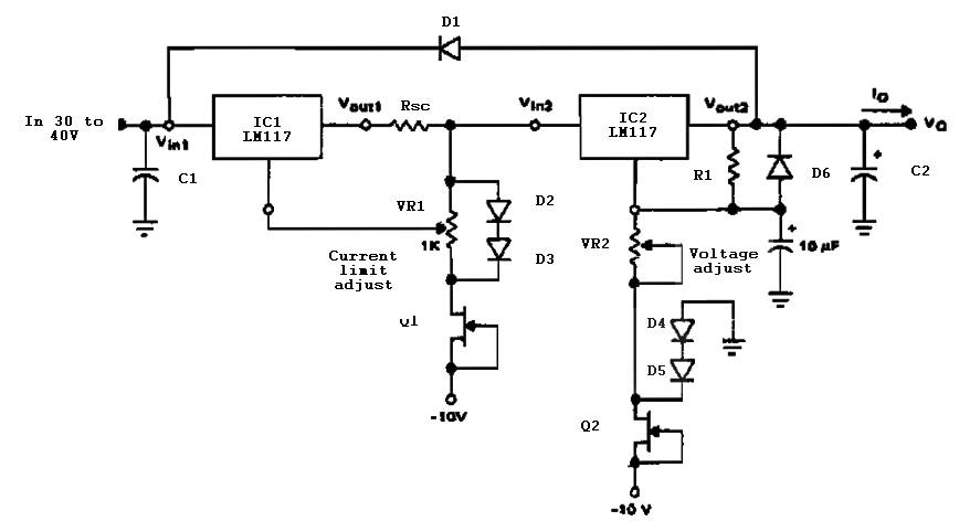 variable power supply with current limit power supply circuits rh powersupply33 com Supply Schematic Power LP6100 Supply Schematic Power LP6100
