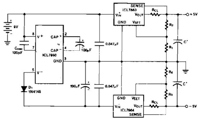 Power Supply Splitter 9V to ± 5V - Power Supply Circuits
