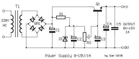adjustable regulated power supply 0 15v 1a power supply circuitsadjustable regulated power supply 0 15v 1a this is the schematic diagram