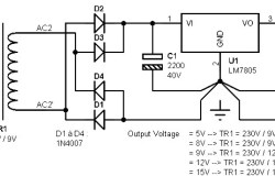 Single Output Power Supply +5V to +15 V / 1A based on LM78xx