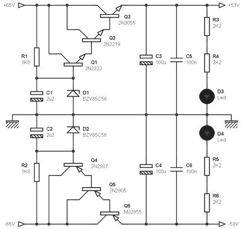 Dual output power supply 53V 3A
