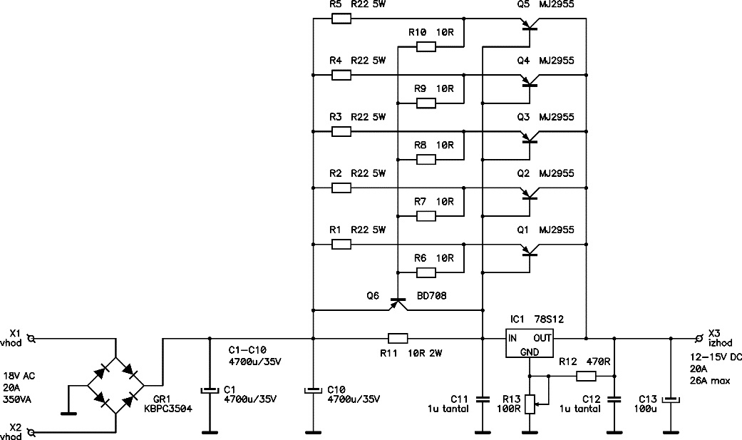12v 20a regulated dc power supply power supply circuits12v 20a dc power supply here the circuit diagram