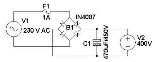 Ac To Dc Power Supply Circuit Diagram | Simple 400v Dc Power Supply Power Supply Circuits