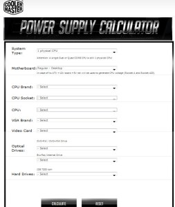 Cooler Master Power Supply Calculator