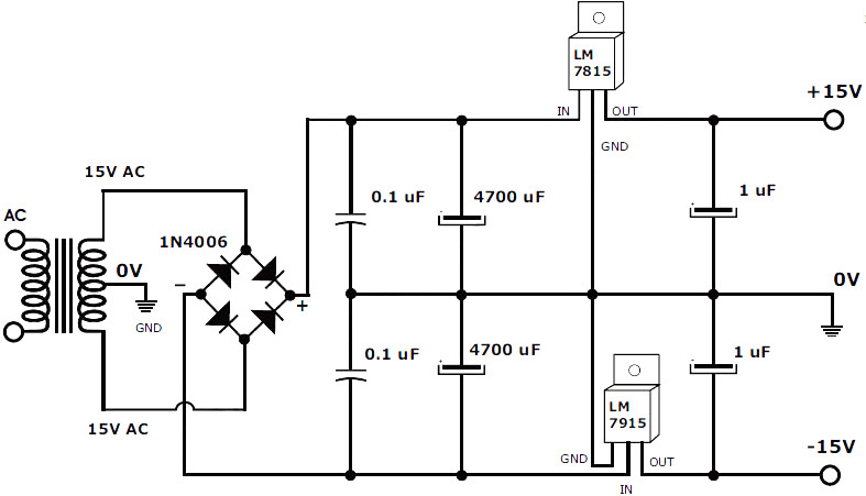 15v 1a regulated symmetrical power supply