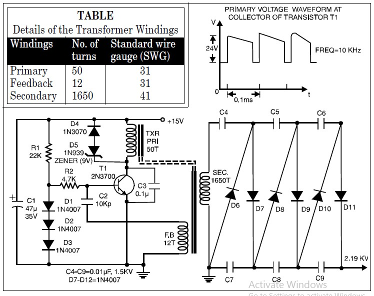 High Voltage, Low Current Power Supply (2000VDC from 15VDC)