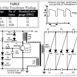 Circuit Diagram of High Voltage Low Current Power Supply