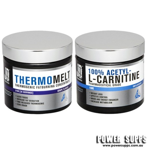 JD Nutraceuticals Thermomelt and Acetyl L-Carnitine Stack Raspberry + Unflavour Carnitine 30 Serves + 75 Serves