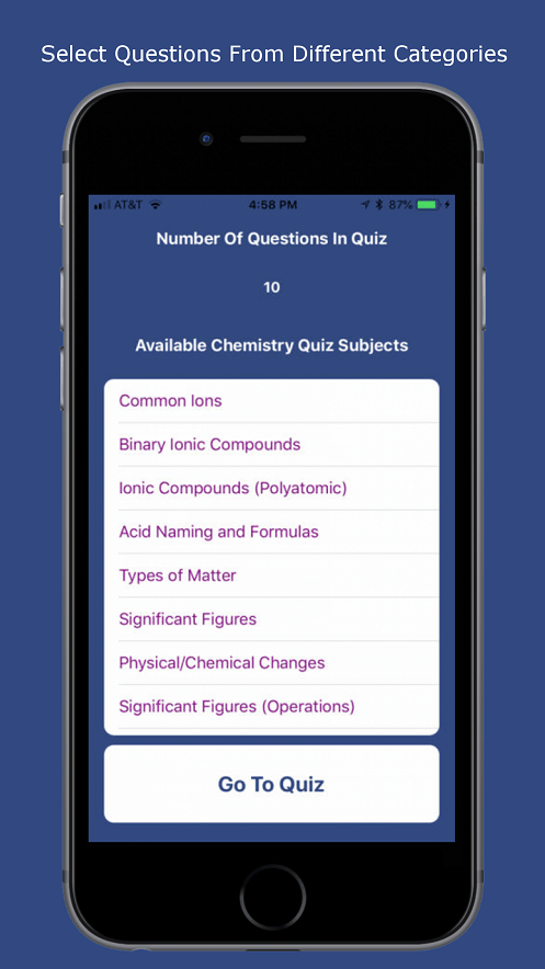 Chemistry Quiz App Learn Ionic Formulas and Naming