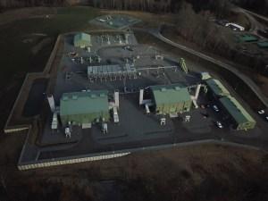 Aerial view of a gas compressor station