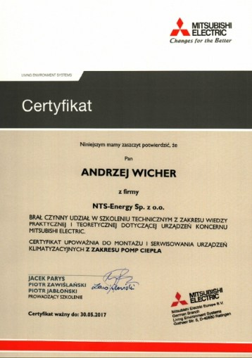 certyfikat mitsubishi