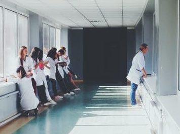 Nursing staff idling in hallway