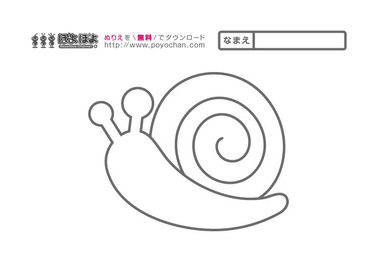 無料ぬりえ(5月~6月)|かたつむり | 知育アニメと無料ぬりえ|ぽよぽ