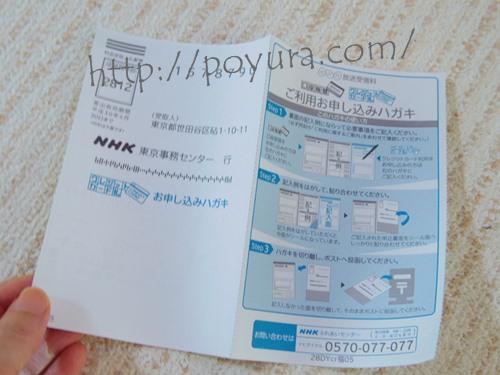 NHK受信料の手続きハガキ