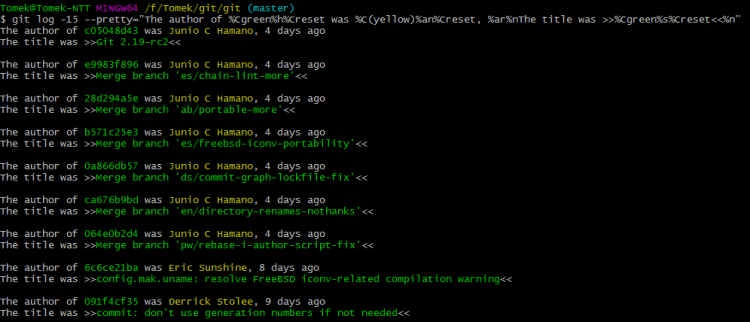 git log --pretty 2