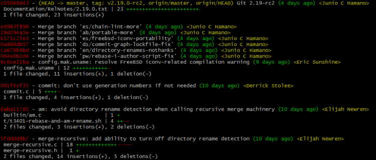 git log --stat