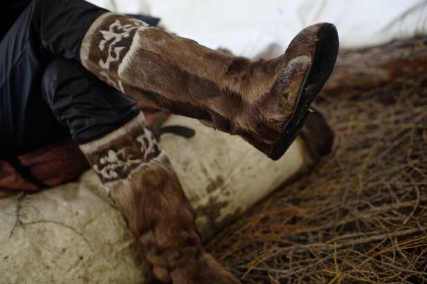 Reindeer skin traditional boot , Yakutia, Siberia, Russia