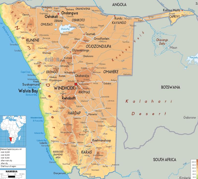 Намиб на карте.
