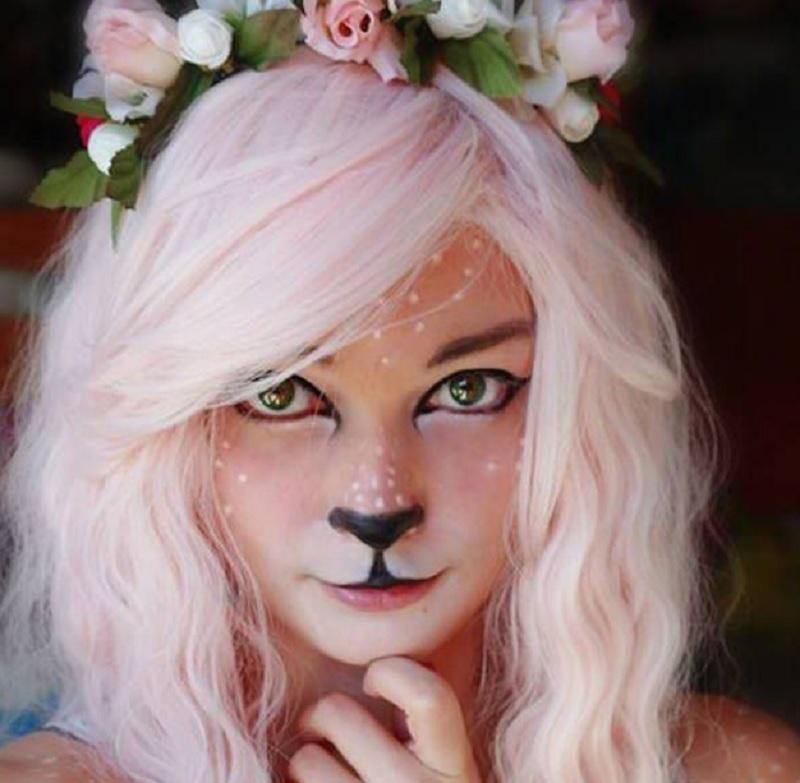 Тигрица Хэллоуин, простой макияж на Хэллоуин