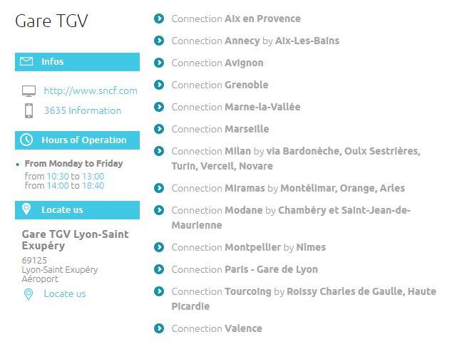 Маршруты поездов TGV от аэропорта Лиона