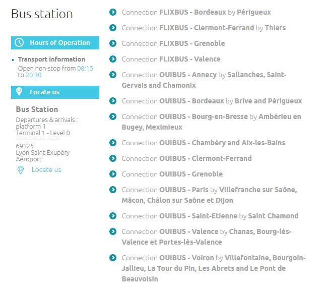 Автобусные маршруты от автостанции в аэропорту Лиона