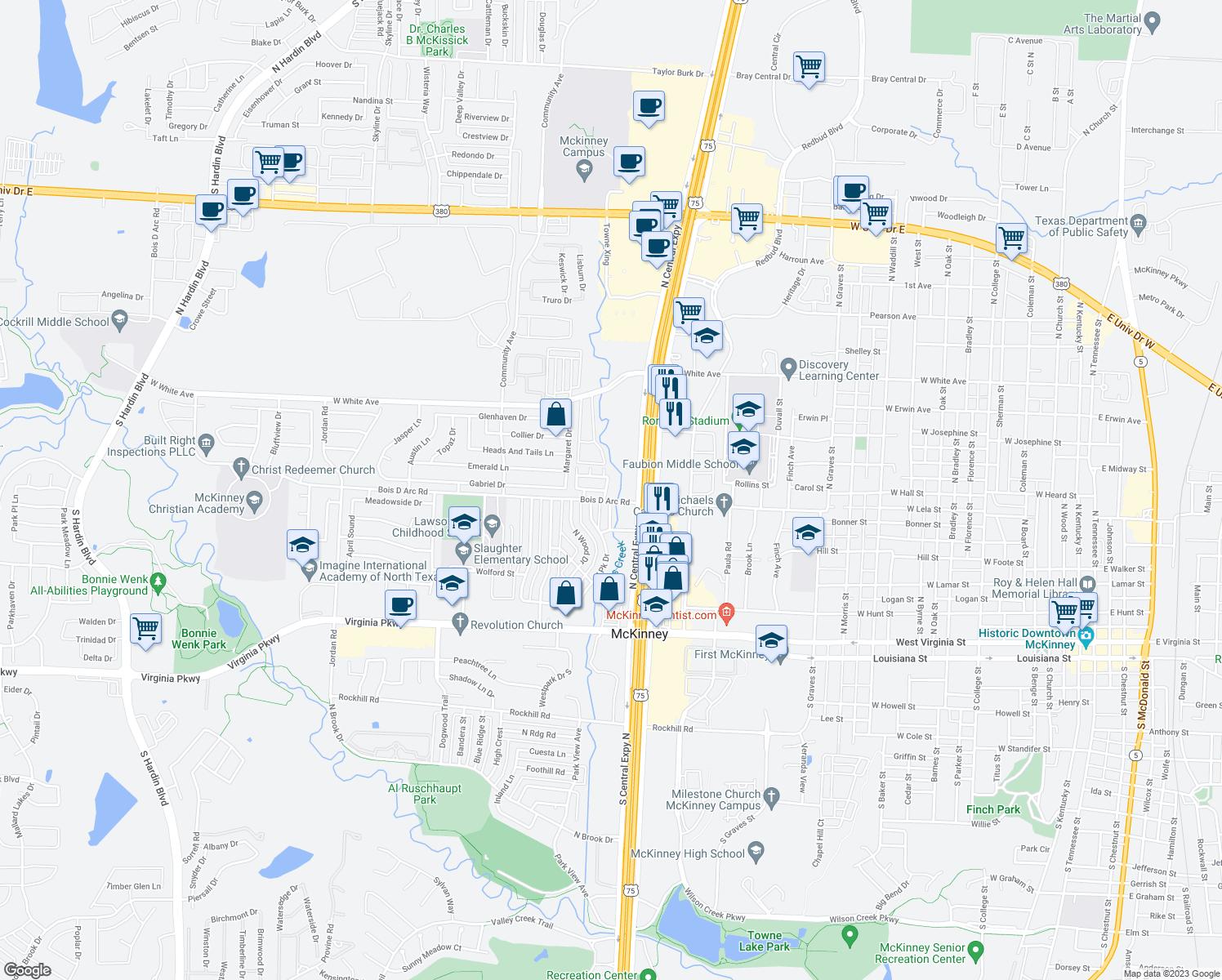Map Texas Creeks Mckinney