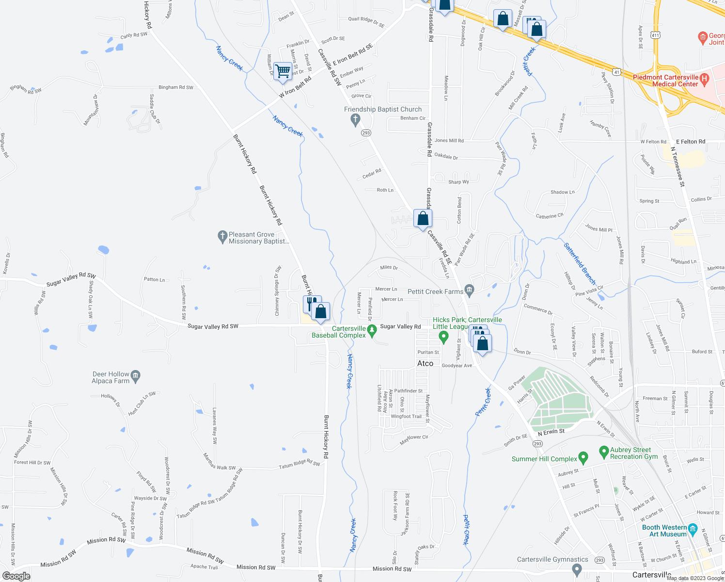 Map Downtown Cartersville Ga
