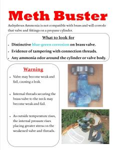 Meth Busters fact sheet to educate employees about what to look for on propane tanks for possible use in the production of methamphetamine and how to respond.
