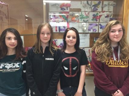 Andover 8th Graders and winners Jordan Graham, Gabbrielle Terhune, Gracieanne Gaylord, Morgan Satterlee