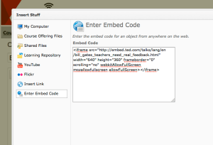 Embed code pasted into D2L