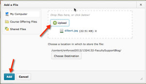 Upload prompt after selecting a file. Add button is highlighted.