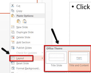 Choosing a slide layout in PowerPoint