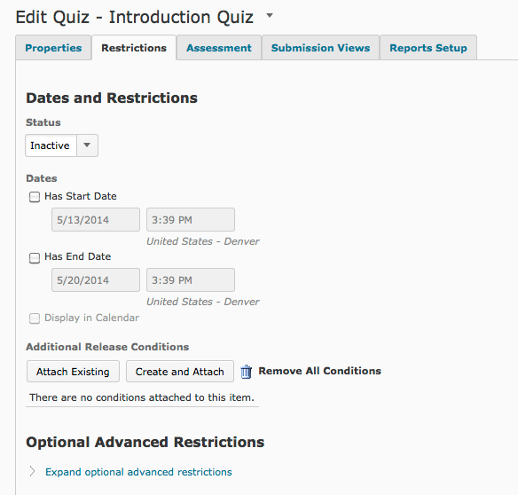 Quiz and Dates Restrictions