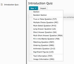 Screenshot showing the different types of questions that can be added to a quiz in D2L