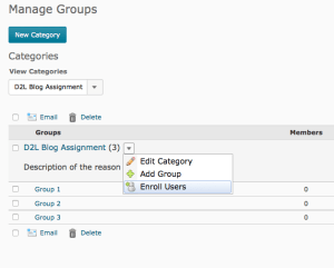 Enroll Users in drop down of category